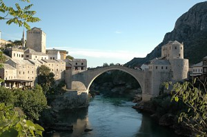 The old bridge of Mostar: destination for all tourists