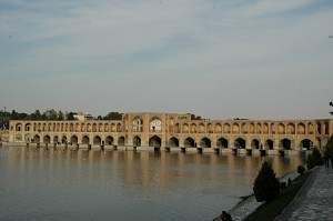 The Khaju bridge across the Zayandeh river