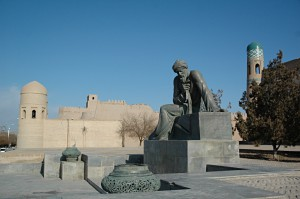 Statue outside of the West Gate of the old town of Khiva