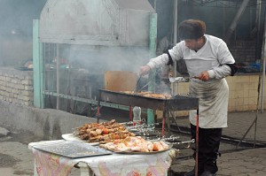 Shopping in Bukhara: Shashlik