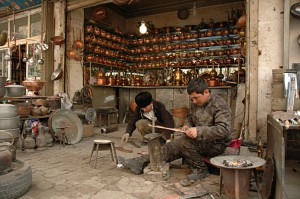 Shopping in Kashgar: Streets of the metal workers