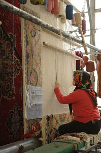 Carpet factory: Wool, the plan and the worker
