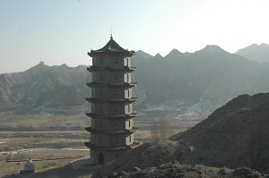 Pagoda near the overhanging wall