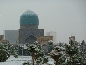 Snow in the center of Samarkand