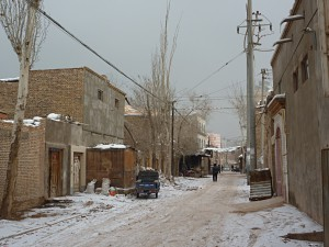 Street which identifies Kashgar as an oasis town