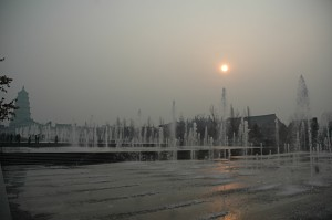 The fountain in front of the Big Wild Goose Pagoda