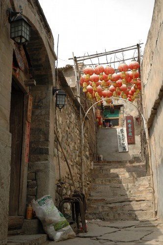 The narrow streets of the village