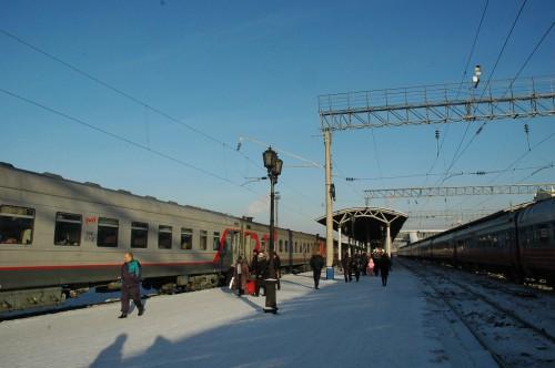 Krasnoyarsk train station: most beautiful weather at -14°C