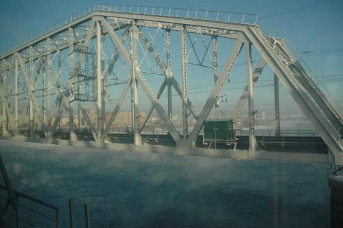 The steaming river Enisey near Krasnoyarsk