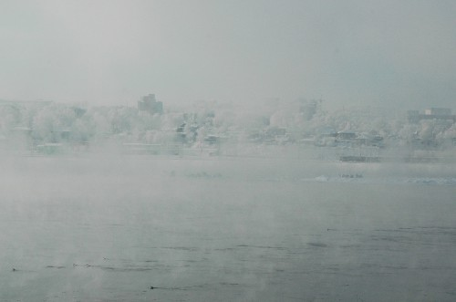 Steaming Angara River in the Siberian Frost