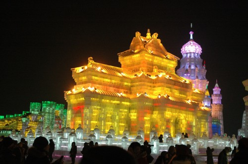 Ice and Snow Festival in Harbin by Night