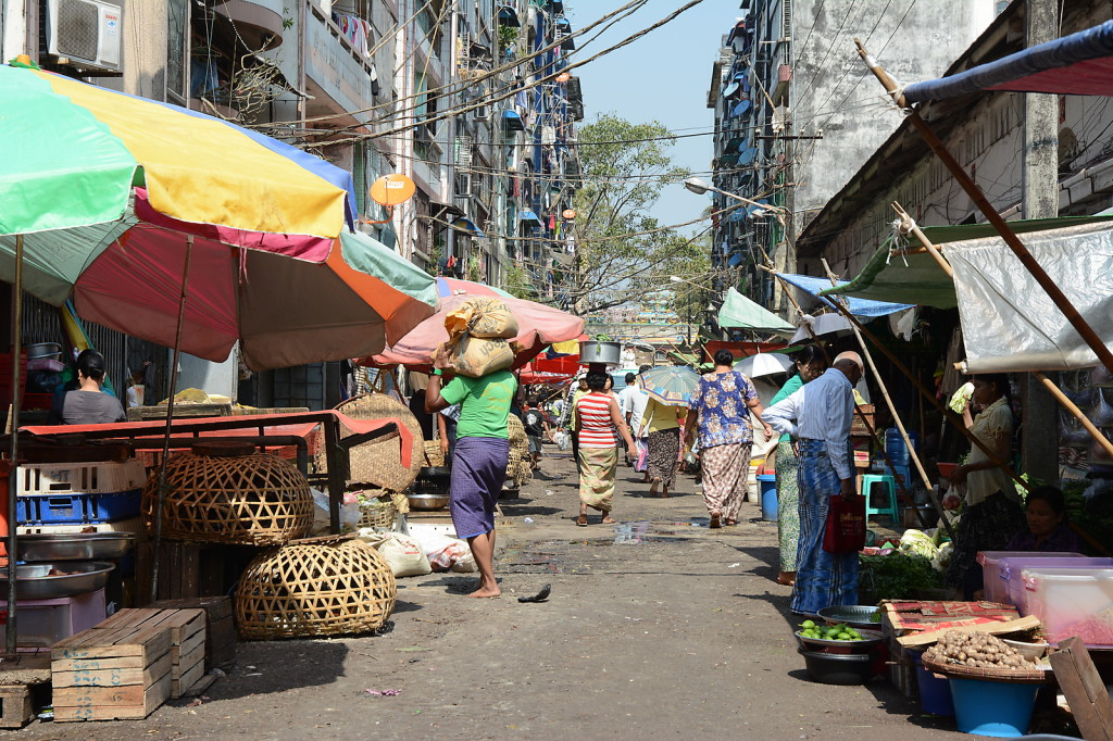 One of the many street markets in Yangon