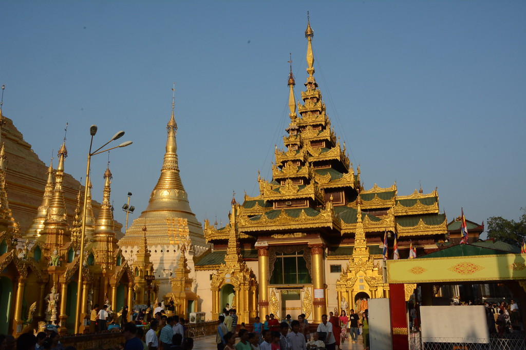 Gold everywhere around Shwedagon Paya