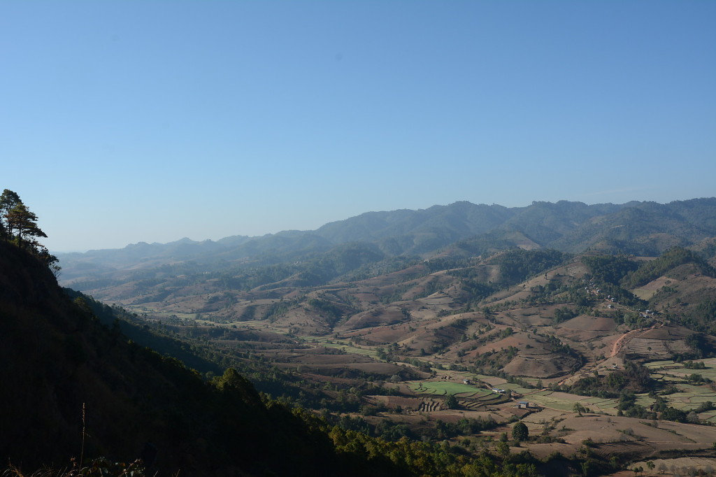 Nice view from the mountain ridge down to the garlic fields of the dry season