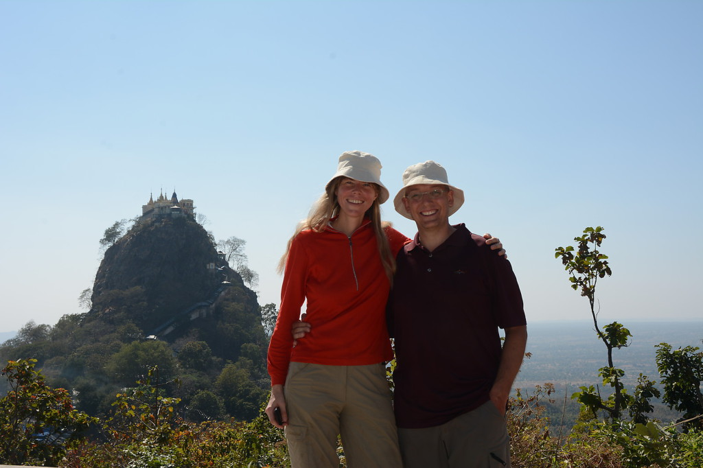 Posing in front of the Mt. Popa monastery