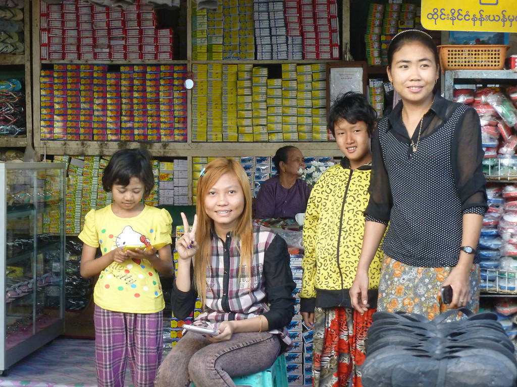 Monywa is less touristy: the kids took pictures of us, we took pictures of them; fair deal!