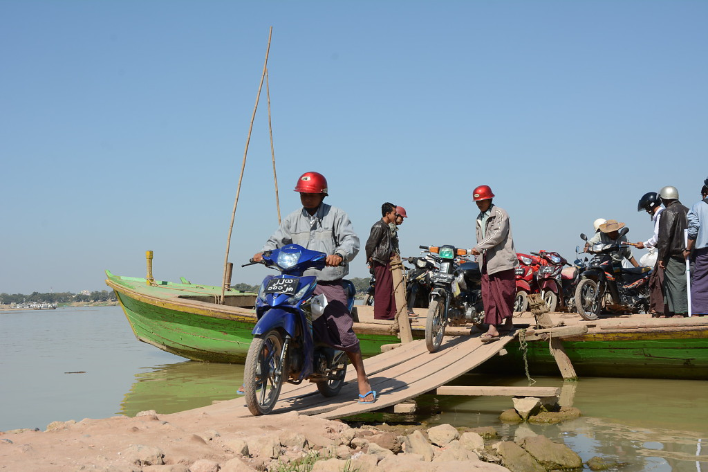 The ferry across the Chindwin river usually only transports motorbikes...