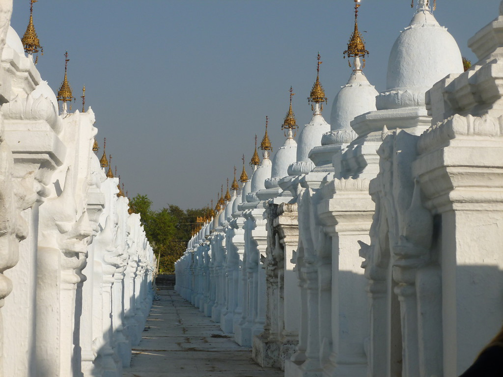 Each of the little stupas contains one page of the worlds largest and probably heaviest book