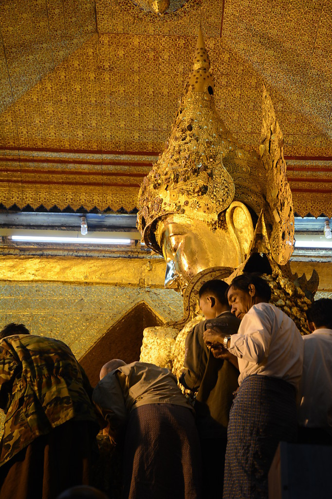 The golden Buddha of the Maha Muni Temple in Mandalay