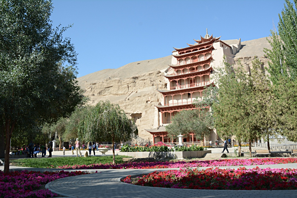Dunhuang: The structure around the giant Buddha at the Mogao caves