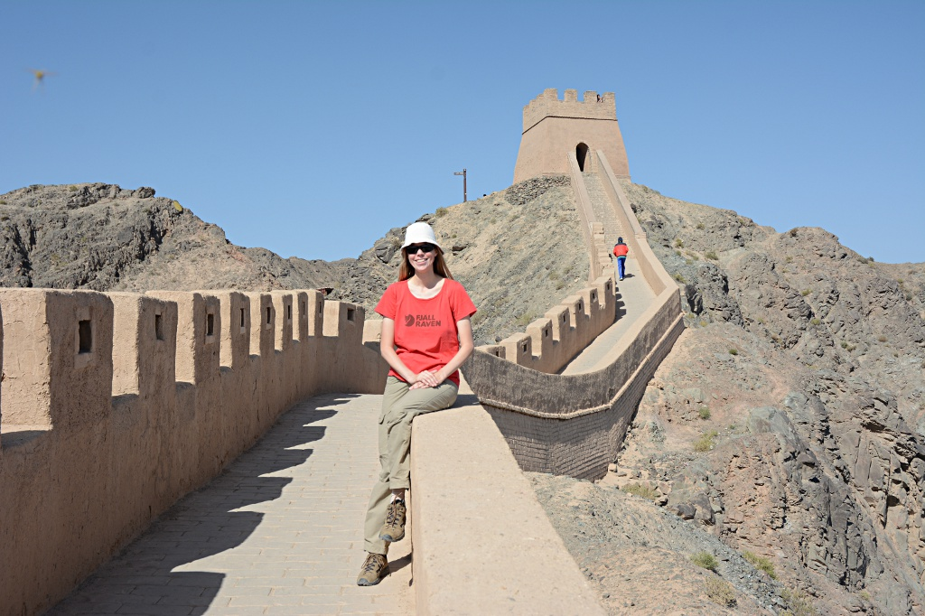 Lady in Red on the Overhanging Great Wall near Jiayuguan