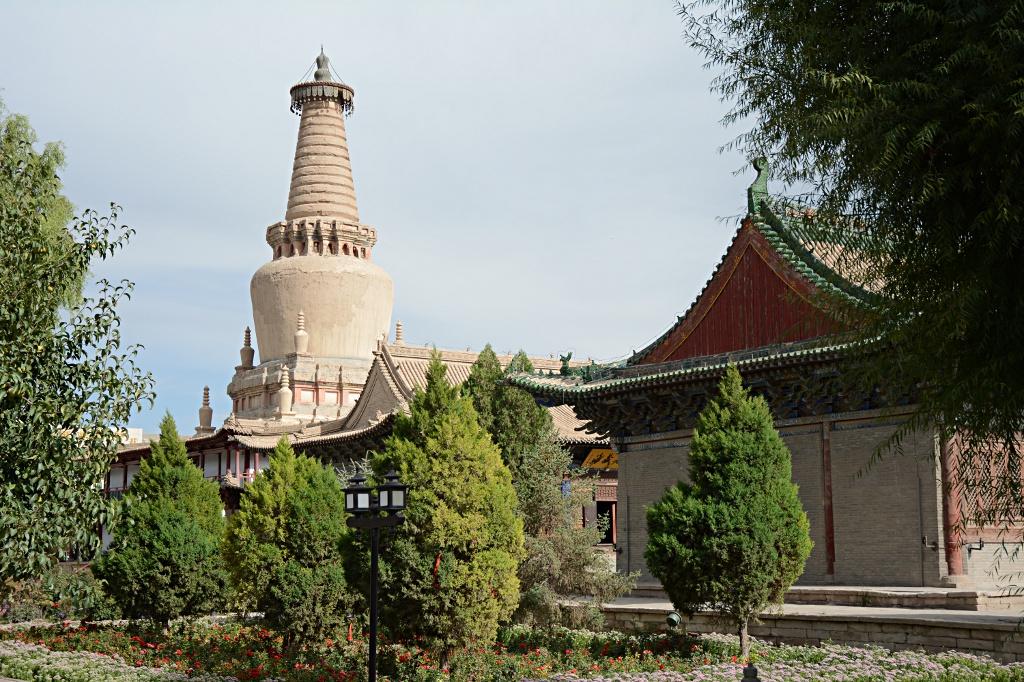 Earthen stupa in the Great Reclining Buddha complex in Zhangye