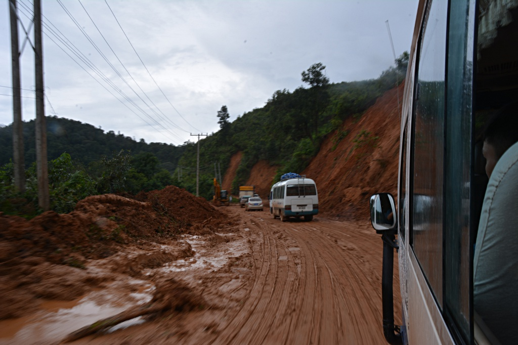 Landslides are omnipresent in Laos, here between Oudomxai and Pakmong