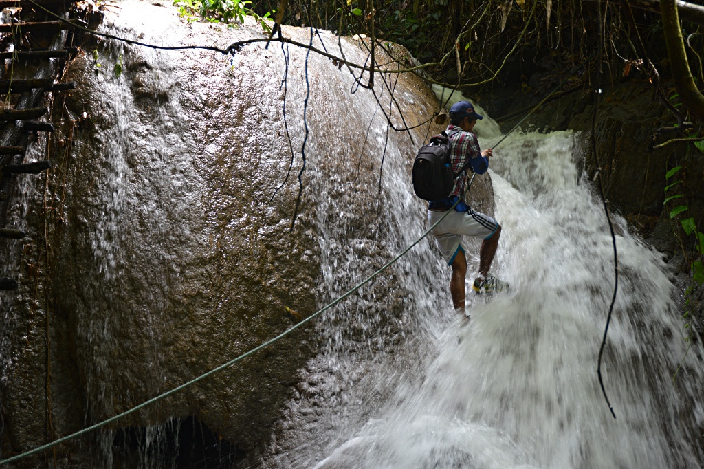 Climbing waterfalls Lao style, although only once