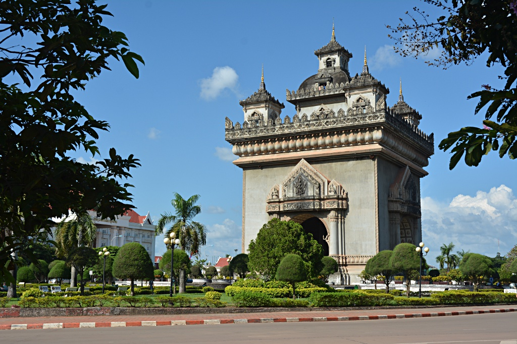 The Patuxai, Laotian version of the Arc de Triomphe