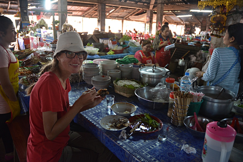 Enjoying local food for lunch at the Paksong market