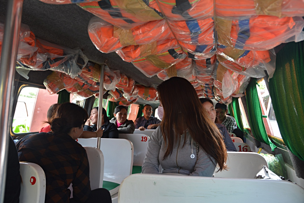 The cramped inside of a speedboat