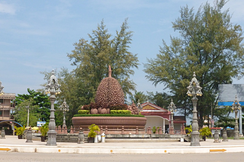 Cambodians love concrete monuments: Durian roundabout in Kampot