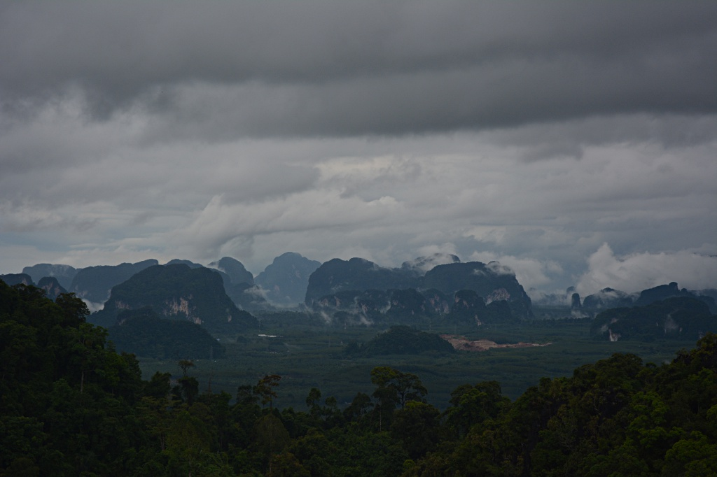Karst landscape north of Krabi from the the Tiger Cave Temple hill