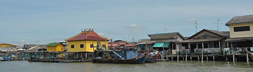 Colorful Kukup, fishing village on stilts