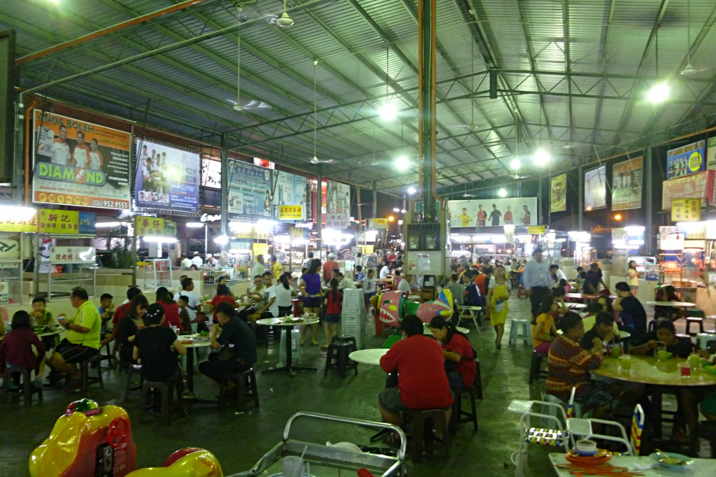 Hawker center in Muar where one can eat the local specialty Otah-otah